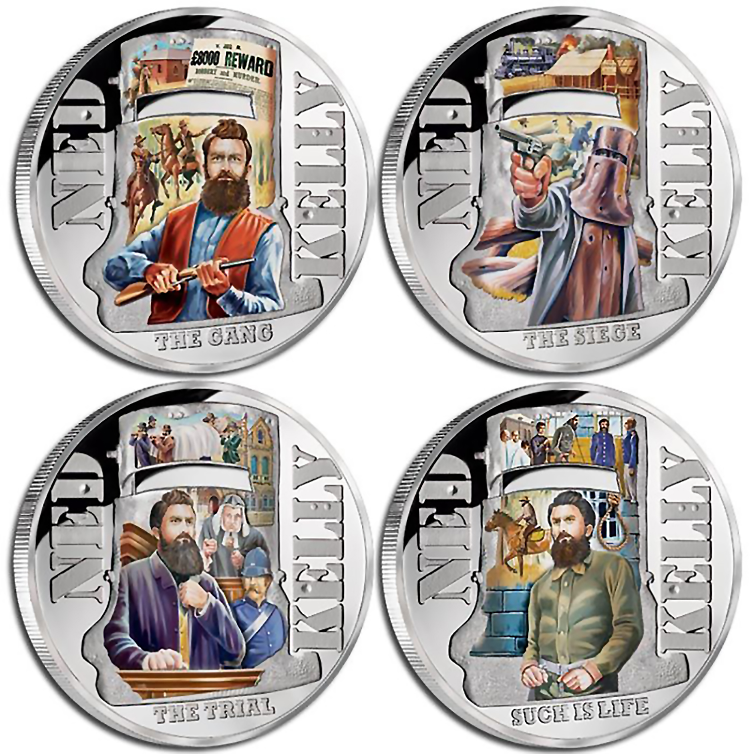 Ned Kelly 4-Coin Silver Proof Set