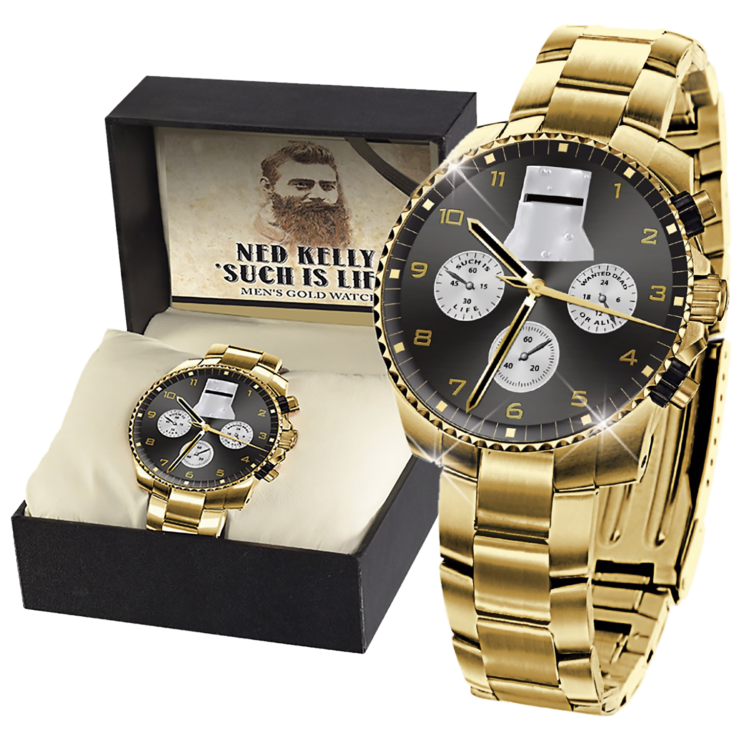 Ned Kelly 'Such is Life' Men's Gold Watch