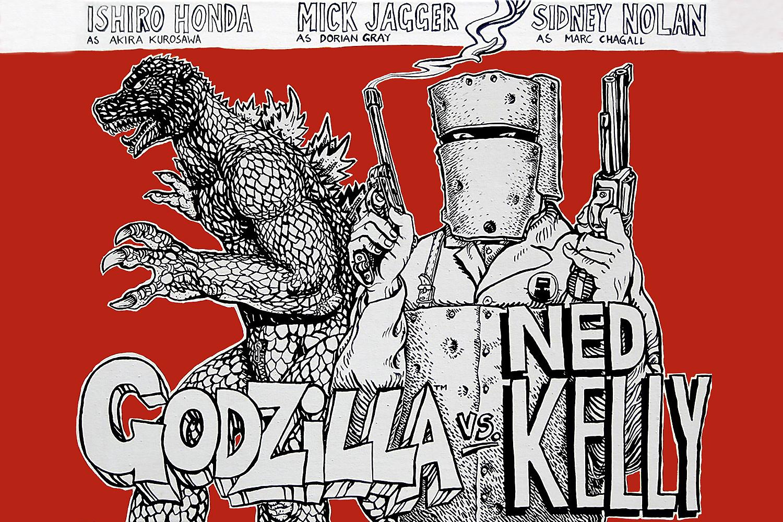 Godzilla vs Ned Kelly [acrylic on canvas]
