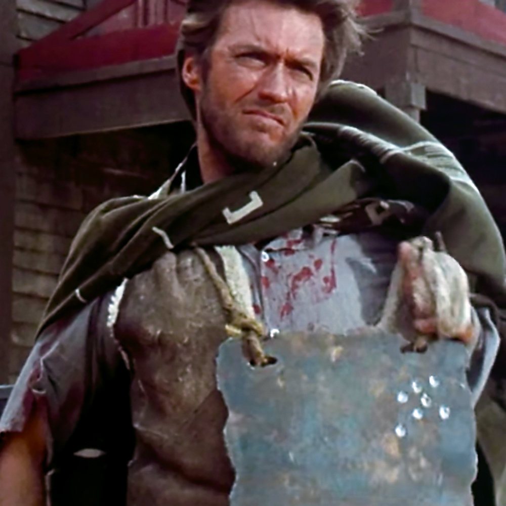 Clint Eastwood emulating Ned Kelly in 'A Fist Full of Dollars' [1964}